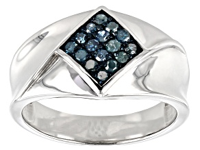 Blue Diamond Rhodium Over Sterling Silver Mens Cluster Ring 0.33ctw