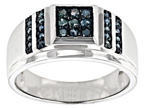 Blue Diamond Rhodium Over Sterling Silver Mens Cluster Ring 0.40ctw
