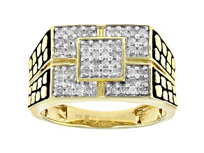 Engild™ White Diamond 14k Yellow Gold Over Sterling Silver Mens Ring 0.50ctw