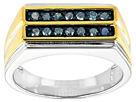 Blue Diamond Rhodium And 14k Yellow Gold Over Sterling Silver Mens Ring 0.34ctw