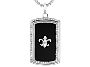 White Diamond & Black Onyx Rhodium Over Sterling Silver Mens Pendant 0.15ctw