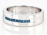 Blue Diamond Rhodium Over Sterling Silver Mens Band Ring 0.20ctw