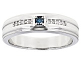 Blue And White Diamond Rhodium Over Sterling Silver Mens Band Ring 0.15ctw