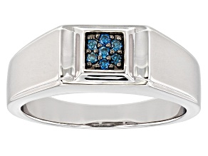 Blue Diamond Rhodium Over Sterling Silver Mens Cluster Ring 0.10ctw