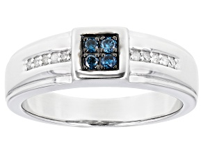 Blue And White Diamond Rhodium Over Sterling Silver Mens Band Ring 0.20ctw