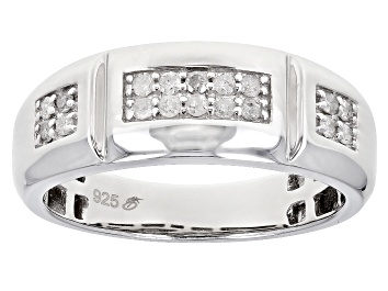 Picture of White Diamond Rhodium Over Sterling Silver Mens Band Ring .30ctw