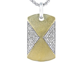 White Diamond Rhodium & 14K Yellow Gold Over Sterling Silver Mens Dog Tag Pendant 0.33ctw