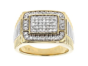 White Diamond Rhodium & 14K Yellow Gold Over Sterling Silver Mens Ring 0.50ctw