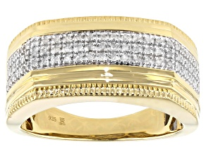 White Diamond 14k Yellow Gold Over Sterling Silver Mens Ring 0.20ctw
