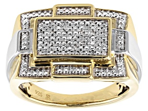 White Diamond Rhodium & 14K Yellow Gold Over Sterling Silver Mens Ring 0.10ctw