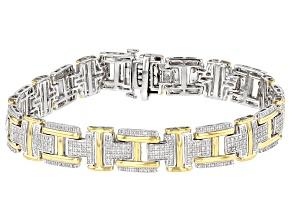 White Diamond Rhodium & 14K Yellow Gold Over Sterling Silver Mens Tennis Bracelet 1.00ctw