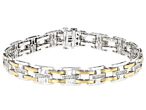 White Diamond Rhodium & 14K Yellow Gold Over Sterling Silver Mens Tennis Bracelet 0.50ctw