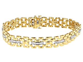 White Diamond 14K Yellow Gold Over Sterling Silver Mens Tennis Bracelet 0.50ctw