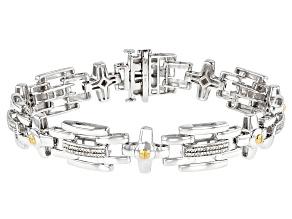White Diamond Rhodium Over Sterling Silver Mens Tennis Bracelet 0.10ctw