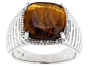 Tigers Eye & White Diamond Rhodium Over Sterling Silver Mens Ring 9.75ctw