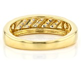 White Diamond 14k Yellow Gold Over Sterling Silver Mens Band Ring