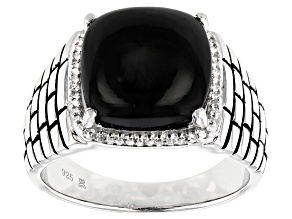 Black Onyx & White Diamond Rhodium Over Sterling Silver Mens Ring 6.15ctw