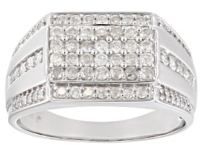 White Diamond Rhodium Over Sterling Silver Mens Cluster Ring 1.25ctw
