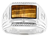 Tigers Eye & White Diamond Accent Rhodium Over Sterling Silver Mens Ring 2.78ctw