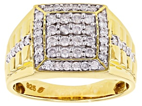 White Diamond 14k Yellow Gold Over Sterling Silver Mens Cluster Ring 1.00ctw