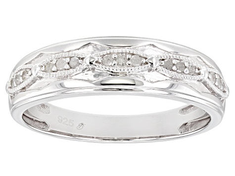 White Diamond Rhodium Over Sterling Silver Mens Band Ring 0.15ctw