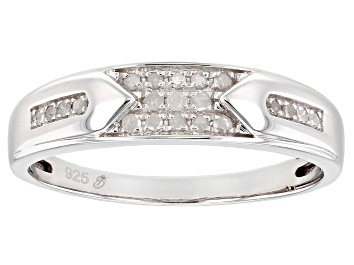 Picture of White Diamond Rhodium Over Sterling Silver Mens Band Ring 0.20ctw