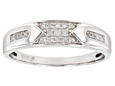 White Diamond Rhodium Over Sterling Silver Mens Band Ring 0.20ctw