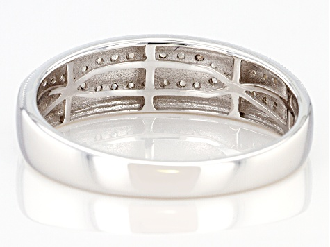 White Diamond Rhodium Over Sterling Silver Mens Band Ring 0.35ctw