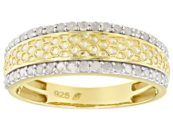 Picture of White Diamond 14k Yellow Gold Over Sterling Silver Mens Band Ring 0.55ctw