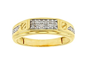 White Diamond 14K Yellow Gold Over Sterling Silver Mens Ring 0.25ctw