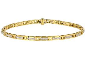 Engild™ White Diamond 14k Yellow Gold Over Sterling Silver Men's Bracelet 0.50ctw