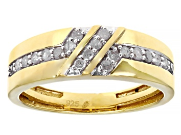 Picture of White Diamond 14k Yellow Gold Over Sterling Silver Men's Band Ring 0.35ctw