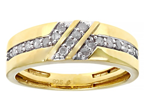 White Diamond 14k Yellow Gold Over Sterling Silver Men's Band Ring 0.35ctw