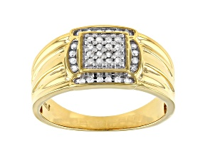 White Diamond 14k Yellow Gold Over Sterling Silver Men's Cluster Wide Band Ring 0.25ctw