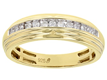 Picture of White Diamond 14k Yellow Gold Over Sterling Silver Men's Band Ring