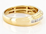 White Diamond 14k Yellow Gold Over Sterling Silver Men's Band Ring