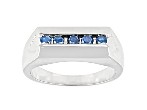 Blue Diamond Rhodium Over Sterling Silver Mens Wide Band Ring 0.50ctw