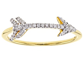 White Diamond 14K Yellow Gold Over Sterling Silver Ring 0.15ctw