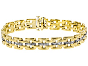 White Diamond 14K Yellow Gold Over Sterling Silver Gents Bracelet 0.50ctw