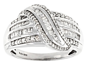 White Diamond Rhodium Over Sterling Silver Crossover Ring 0.95ctw