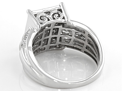 White Diamond Rhodium Over Sterling Silver Quad Ring 0.95ctw