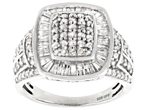 White Diamond Rhodium Over Sterling Silver Cluster Ring 1.70ctw