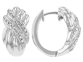 White Diamond Accent Rhodium Over Brass Hoop Earrings