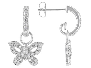 White Diamond Accent Rhodium Over Sterling Silver Butterfly Earrings
