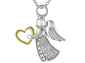 White Diamond Accent Rhodium Over Sterling Silver Two-Tone Angel Pendant With 18