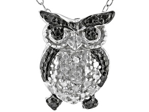 White Diamond Accent Rhodium Over Sterling Silver Owl Pendant With 18