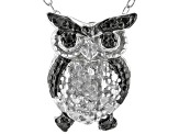 "White Diamond Accent Rhodium Over Sterling Silver Owl Pendant With 18"" Cable Chain"