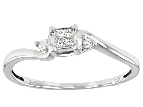 White Diamond Rhodium Over Sterling Silver Promise Ring 0.10ctw