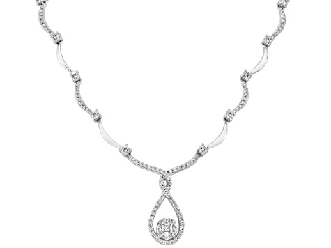 Diamond 1.00ctw Marquise, Princess Cut And Round 14k White Gold Necklace