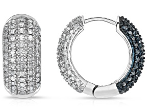 Sterling Silver 2.00ctw Blue And White Diamond Hoop Earrings